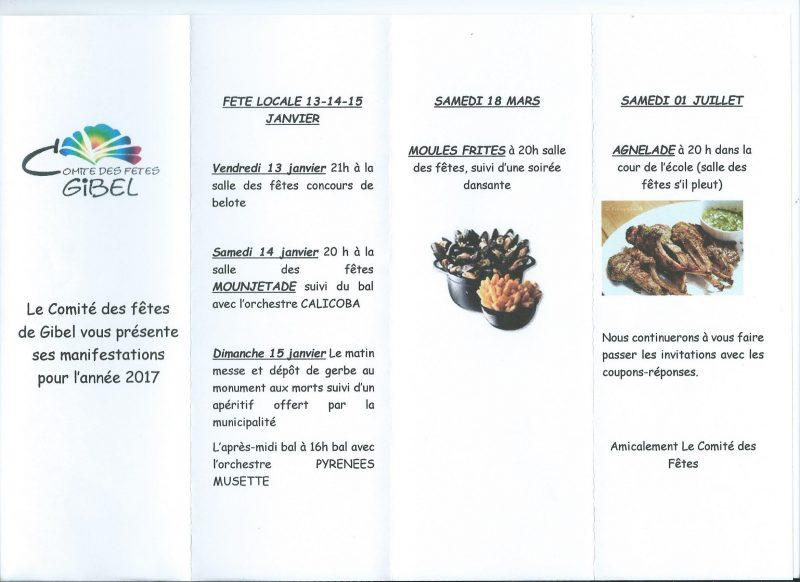 Programme Du Comité Des Fêtes Pour 2017